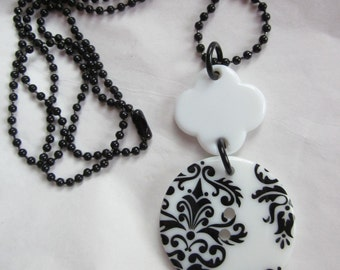 CLEARANCE Night and Day Damask Button Necklace