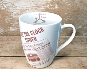 Save the Clocktower Coffee Mug, Back To the Future Tea Cup, Flux Capacitor, DeLorean Time Machine, Nerd Geek Mug, Unusual Unique, Ready ship