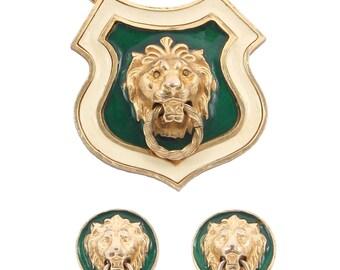 Accessocraft NYC Lion Doorknocker Pendant Necklace Earring Set