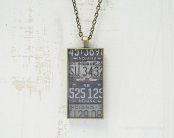 Vintage Indiana License Plates Necklace | Unique Pendant | Indiana Jewelry | Antique Bronze | Wearable Art | License Plate