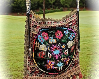 Boho Vintage Needlepoint Bag Ethnic Tribal Tasseled Beauty Gypsy Vagabond Rock Star Coachella Shaman  Large