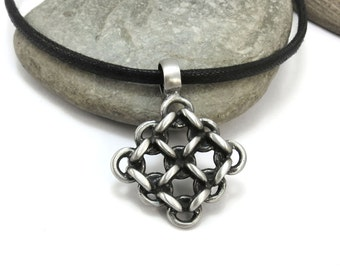 Men's Jewelry, Chainmaille Jewelry - Chainmail Pendant, Pewter Chain Mail Pendant