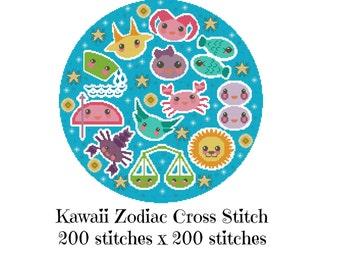 Zodiac Cross Stitch Pattern - Kawaii Cross Stitch Pdf - Cross Stitch Sampler - Cute Cross Stitch Patt