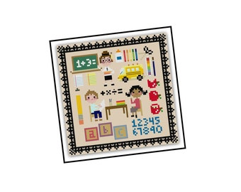 Kawaii School Cross Stitch Pattern - Pixel People Cross Stitch Pattern - Girls Cross Stitch - Easy Cross Stitch Pdf