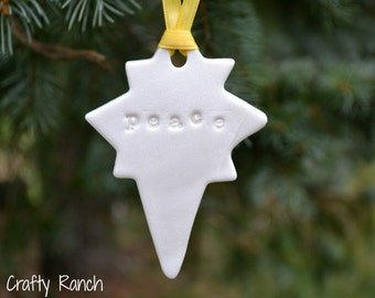 "Bethlehem Star ""Peace"" Polymer Clay Ornament"