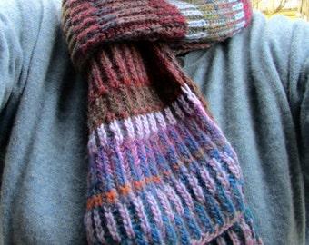 hipster scarf, brioche knit scarf, striped muffler, ribbed scarf