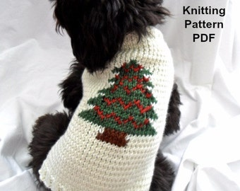 Christmas dog sweater knitting pattern - PDF for small dogs, Christmas tree
