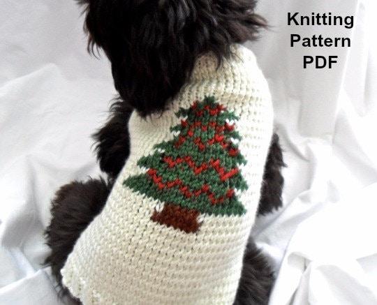 Knitting Pattern For Dog Christmas Jumper : Christmas dog sweater knitting pattern PDF for small dogs