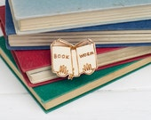 Book Worm Wooden Brooch