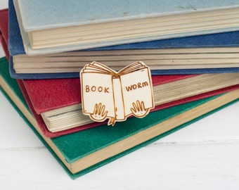 Book Worm Wooden Brooch
