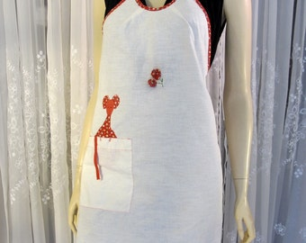 Vintage 70's whole natural cotton hostess apron with appliqué mouse