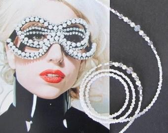 Eyewear holder, Pearl white and crystals, glasses chains, accessories, sunglasses chain, eyeglass chains, beaded eyewear holder, Handmade