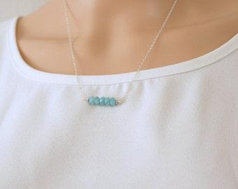 Aquamarine necklace, gemstone necklace, bar necklace, blue gemstone, march birthstone, simple necklace