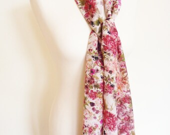 Pink Floral Long Silk Scarf, Hand Painted. Fuscia Pink and Purple Roses. Luxury Ladies Gift. Unique. Classic. Shawl Wrap. Occasion wear