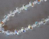 Vintage LAGUNA Aurora Borealis Choker Necklace Single Strand Glass Beads Mid Century Pin Up Bridal Wedding 1950's / Vintage Costume Jewelry