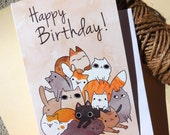 cat happy birthday card, crazy cat lady card