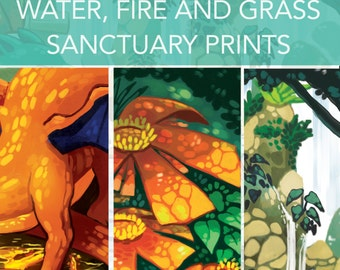 water, fire and grass sanctuary 8.5 by 11 inch prints