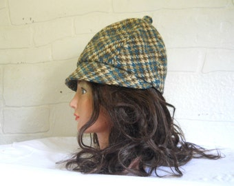 60s Hat Women Hat Plaid Hat 1960s Hat Wool Hat Tweed Hat Retro Hat Women Cap Wool Cap Ladies Hat Vintage Deerstalker Hat Brown Hat