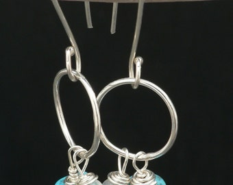 Turquoise and Moonstone Circle earrings in Sterling Silver