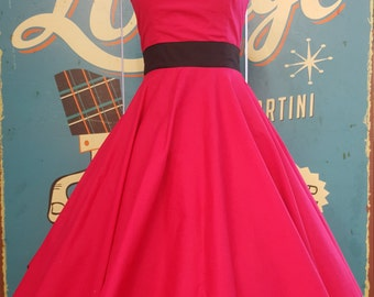 50's vintage dress Tailor Made dress hot pink Size Small SALE