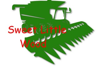 Combine Harvester,  3x digital SVG file in line  with white fill, no fill and color format. PNG image included.