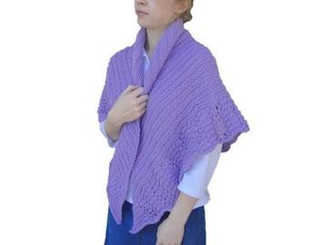 Lace Edged Shawl, Hand Knit, Lavender Purple, Prayer Shawl Wrap