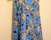 Vintage Floral Bedsheet, Blue Flower Bedsheet, Black Flower Bed Sheet, Vintage Sears Perma Prest Bedsheet, Roses Bedding