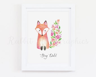 Fox Nursery Art, Stay Wild, Woodland Nursery, Floral Print, Baby Girl, Flowers, Pink, Watercolor, Nursery Art, INSTANT DOWNLOAD