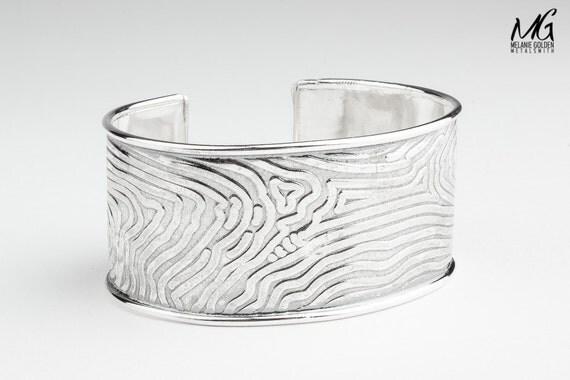 Sterling Silver Tree Bark Cuff bracelet - Wide embossed bangle cuff bracelet - huge bohemian style statement cuff bracelet - Nature jewelry