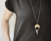 Hematite Talisman Pendant Necklace // Handcut Hammered Brass Crescent Moon With Copper Wire on Gunmetal and Copper Chain
