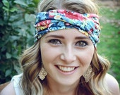 Crazy Blue Floral Turban, Twist Jersey Knit, Work Out Headband