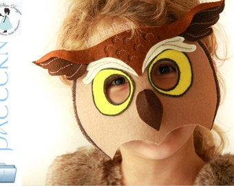 Felt Owl Mask Pattern. Horned Owl Costume Pattern.