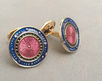Vintage Cuff Links Enameled Blue Mens Accessories Gift for Him Ships wheel Nautical motif