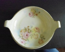 Prussian Bowl with Handles Hand Painted Edged in Gold Prussia B Royal Rudolstadt Small Handled Bowl