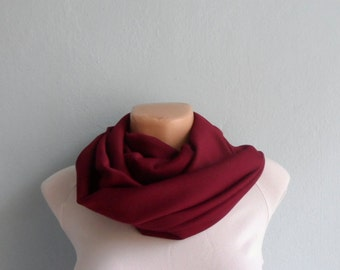 Burgundy Scarf, Infinity Scarf, Wine Circle Scarf, Scarves Women Fashion, Winter Scarf, Gift for her,Christmas Gift