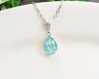 Mint Necklace - Silver Mint Green Swarovski Crystal Necklace - Swarovski Teardrop Necklace - Mint Green Bridesmaid Jewelry - Wedding Jewelry