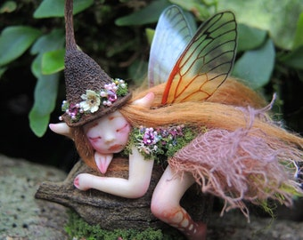Cute & Tiny Woodland Forest Fairy by Celia Anne Harris OOAK - Made to Order
