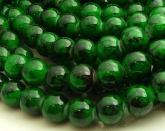 Dark Green and Black Swirled Round Glass Beads - 8mm Bohemian Beads - 25pcs - BN30
