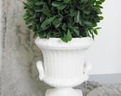 Vintage Vase Pedestal Urn White Ceramic Romantic Wedding Shower Shabby Chic Cottage French Farmhouse Style Decor