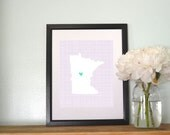 Minnesota State Map Cross Hatch Background Custom Personalized Map Art 8x10 Print