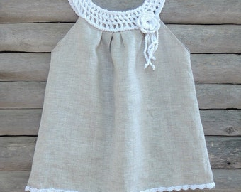 Oatmel organic baby, Toddler, girl dress with a hand crocheted white collar and flower brooch