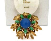 Vintage 1965 CHRISTIAN DIOR Glass Cabochon Flower Brooch