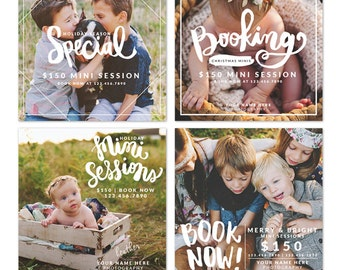 INSTANT DOWNLOAD -  Photography studio mini session board bundle - Photoshop template - E1224