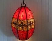 Ethnic, Bohemian, Boho, Leather Hand Sewn Pendant Lamp,  Hanging Light,  Hanging Lighting