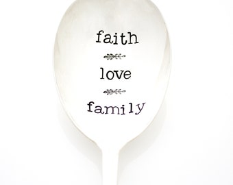 "Thanksgiving Table Decor. Hand stamped serving spoon, ""Faith Love Family"". Casserole server."