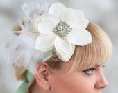 Bridal Ribbon Headband-Beautifully accented with vintage rhinestone broach and goose feathers