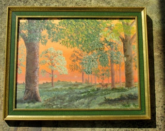 1980s Framed Oil Painting of Trees Large Wall Hanging Home Decor Original Art Signed W J Gear
