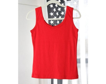 Cute Basic Bright Red 90s Tank Top