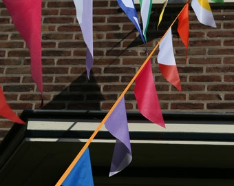 Outdoor bunting - rainbow waterproof bunting flags fabric banner for outdoor use, pennant flags, 14 meters - 12,5 yard