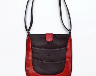 iPad Messenger Bag, Modern Leather Messenger, Leather Cross Body, Unisex Bag, Red Leather Bag